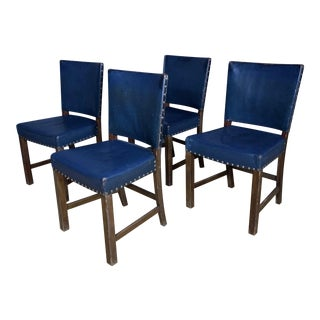1940s Fritz Hansen Blue Leather Dining Chairs- Set of 4 For Sale