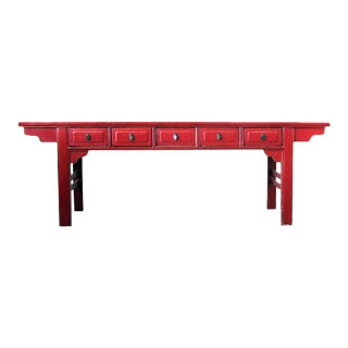 1900s Chinese Red Lacquer Offering Console Table For Sale