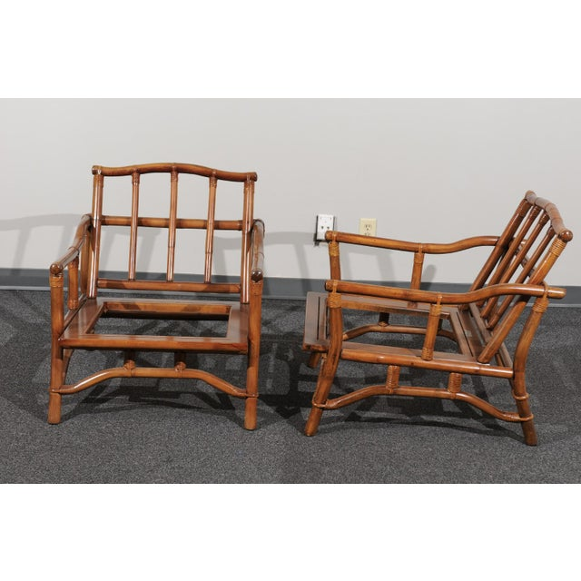Beautiful Restored Pair of Pagoda Style Loungers by Ficks Reed, circa 1970 For Sale - Image 9 of 13