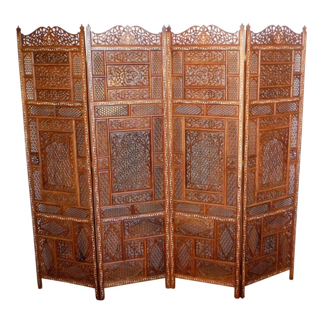 Carved & Inlayed Rosewood Screen For Sale