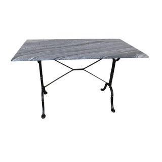 Antique Wrought Iron Base Marble Top Pastry Table For Sale