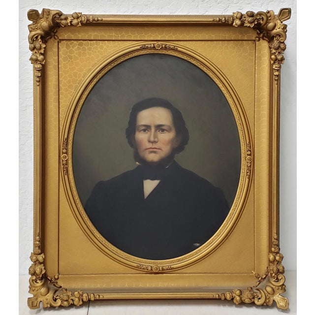 Mid 19th Century American Male Portrait Oil Painting For Sale - Image 11 of 11