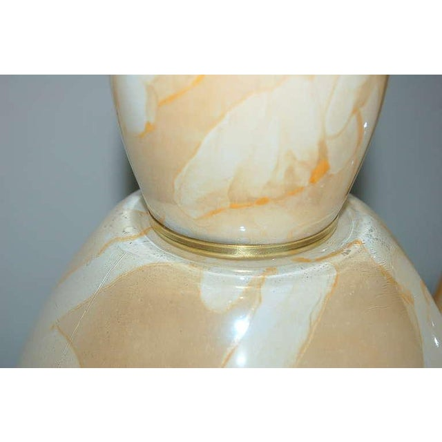 Vintage Italian Glass Table Lamps Peach Swirl For Sale In Little Rock - Image 6 of 8