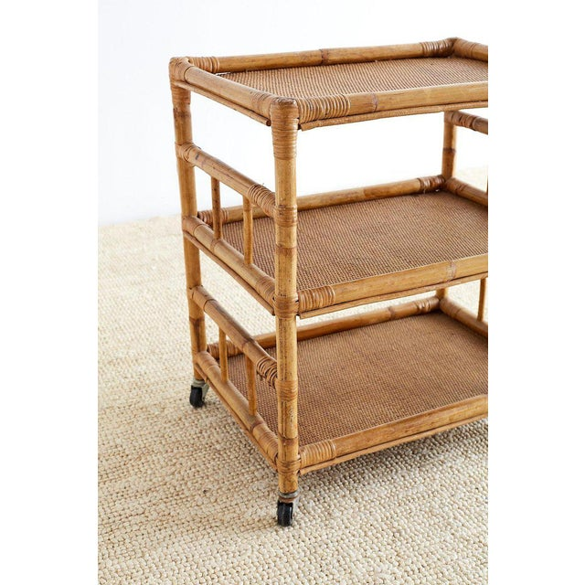 Bamboo and Raffia Rolling Three-Tier Serving Cart For Sale - Image 4 of 13
