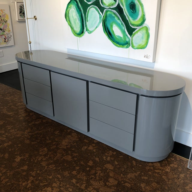 2010s Contemporary Grey Lacquer Credenza For Sale - Image 5 of 5