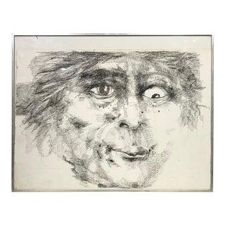 Vintage Framed Cross Eyed Man Drawing For Sale