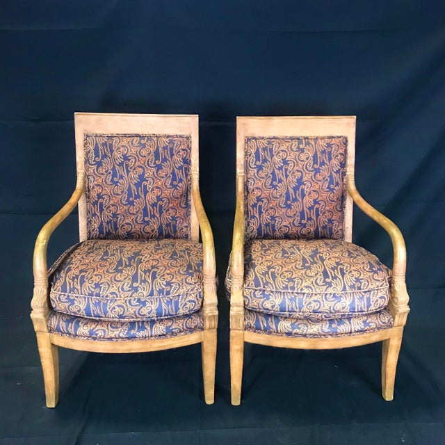 1940s Vintage Antique French Empire Style Armchairs- A Pair For Sale - Image 11 of 11
