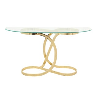 1970s Hollywood Regency Brass and Glass Console Table For Sale