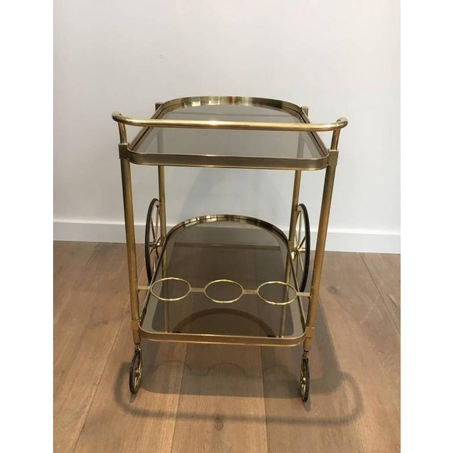 1960s French Brass and Smoked Glass Bar Cart - Image 9 of 11