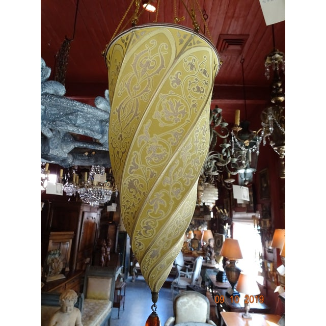 Italian Venetian Spiral Fortuny Silk Pendant Lantern For Sale - Image 3 of 9