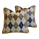 Image of Custom Tailored Woven Scottish Argyle Design Feather/Down Pillows - Pair For Sale