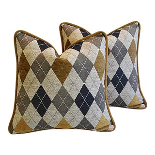 Custom Tailored Woven Scottish Argyle Design Feather/Down Pillows - Pair For Sale