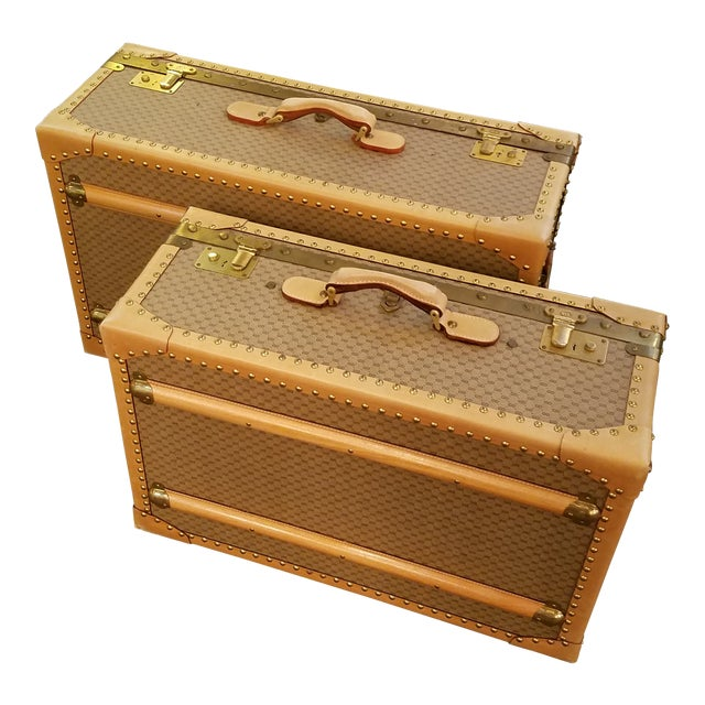 1970's Original Gucci Logo Hard Sided Suitcases - a Pair For Sale