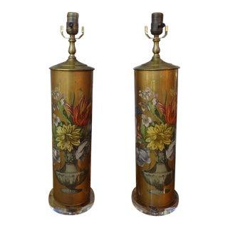 1960's Eglomise Floral Lamps- A Pair