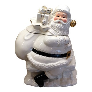 Holly Holiday Home for the Holidays White Santa Porcelain Christmas Cookie Jar For Sale