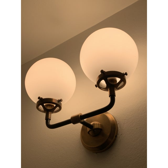 2010s Visual Comfort Bistro Sconce in Antiqued Brass For Sale - Image 5 of 6