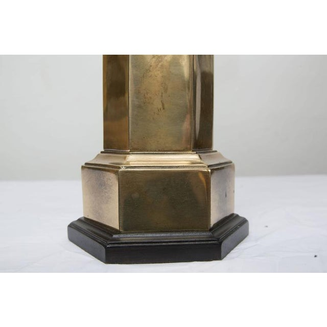 Stately Pair of Hexagonal Brass Lamps For Sale - Image 4 of 6
