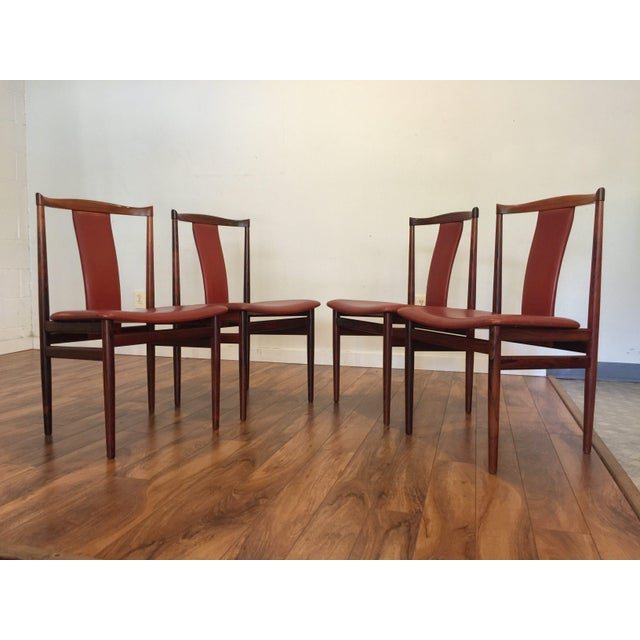 Henning Sorensen Rosewood & Leather Dining Chairs - Set of 4 For Sale - Image 5 of 11
