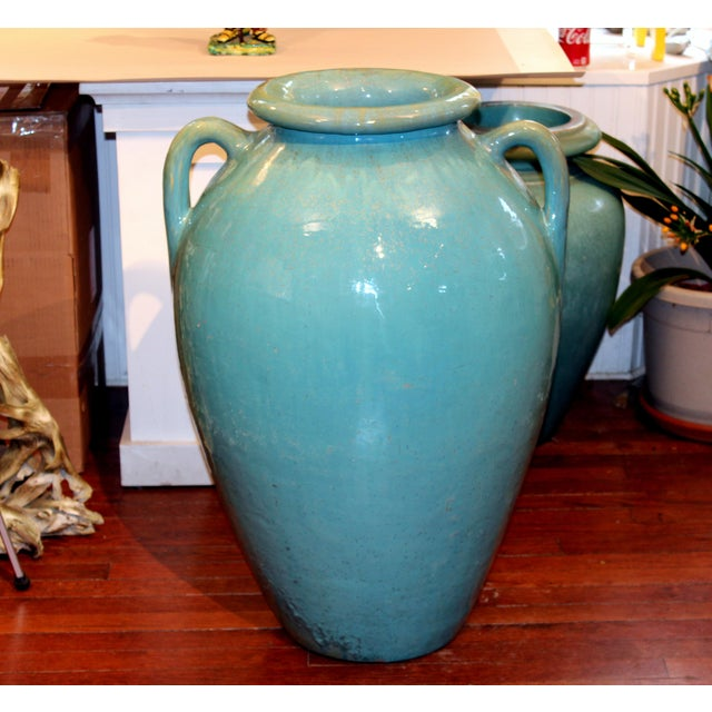Huge garden urn floor vase by the Galloway Terracotta Company of Philadelphia with great green/turquoise crystalline...