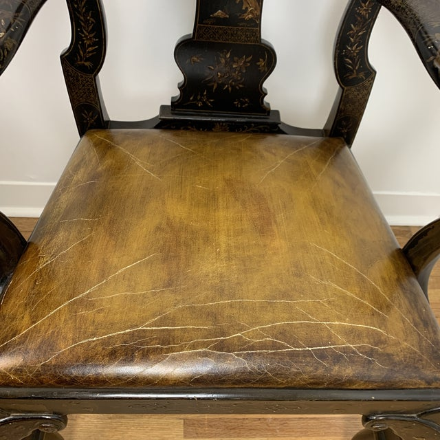 Black Japanned Chinoiserie Queen Anne Arm Chair For Sale - Image 4 of 13