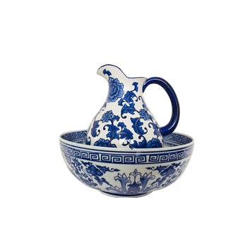 Blue & White Chinese Wash Bowl and Pitcher - A Pair