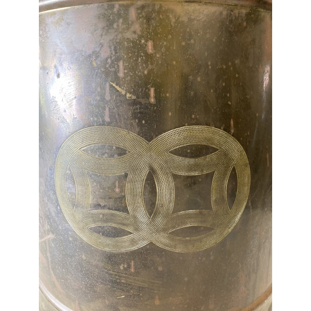 Hollywood Regency Mid Century Brass Cashepot For Sale - Image 3 of 7