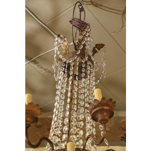 Empire Large Gilt-Iron Italian Chandelier For Sale - Image 3 of 6