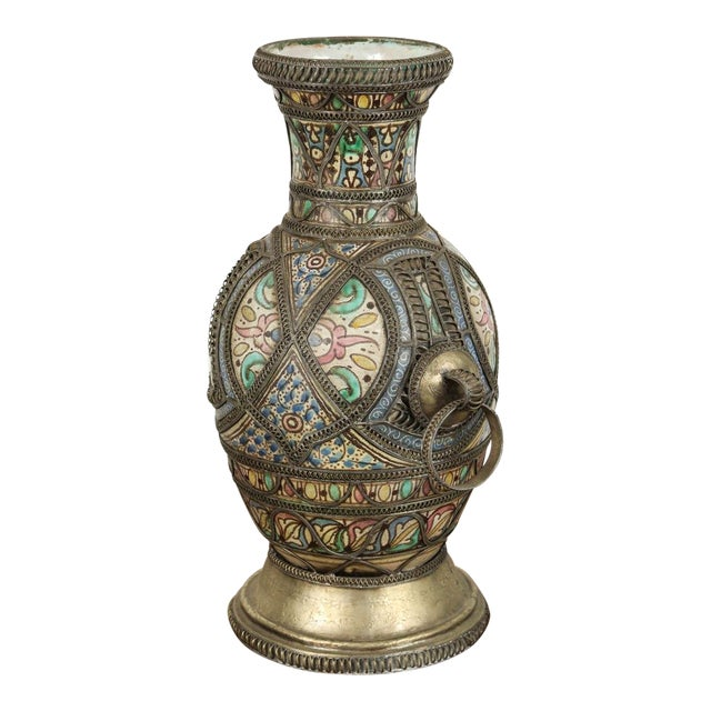 Antique Moroccan Ceramic Vase From Fez For Sale