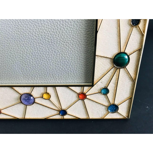 Shagreen With Multi-Color Stones Photo Frame by Fabio Ltd For Sale In Palm Springs - Image 6 of 9