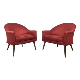 1960s Vintage Red Barrel Back Lounge Chairs - A pair