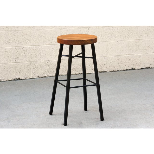 Custom Tiger Wood and Steel Stool For Sale - Image 4 of 4