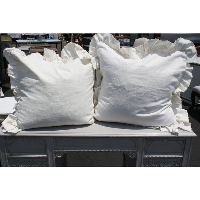 White Ruffled Pair of Europeon Pillows - Image 2 of 3