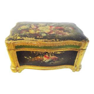 Italian Florentine Hand-Painted Floral Lidded Case For Sale