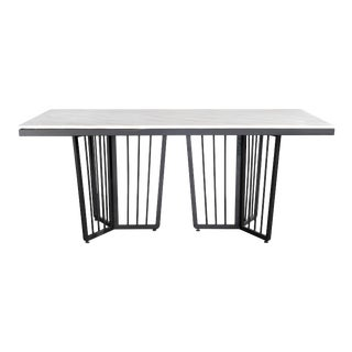 Modern Derek Black and White Marble Top Dining Table For Sale