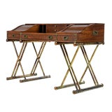 Image of Faux Brass Base Campaign Style Tambour Roll Top Desk For Sale