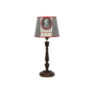 Antique English Oak Pub Lamp W/ Custom Shade For Sale