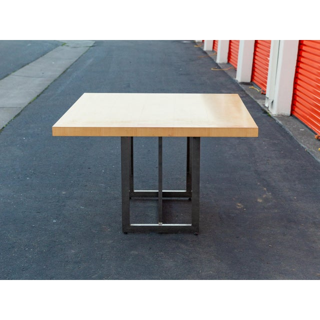 Contemporary Mid-Century Modern Francois Langin Custom Wood and Chrome Dining Table For Sale - Image 3 of 12