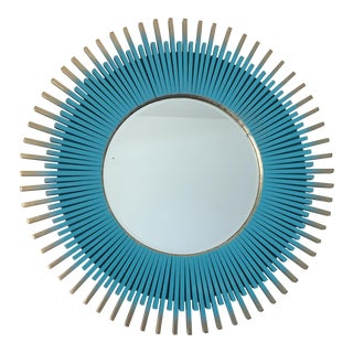Blue & Gold Sunburst Wall Mirror For Sale