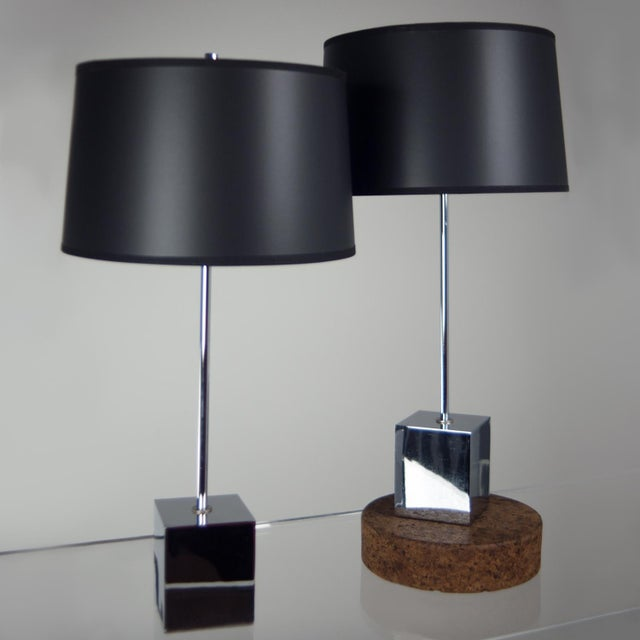 Chrome Cube Based Table Lamps - A Pair - Image 2 of 3