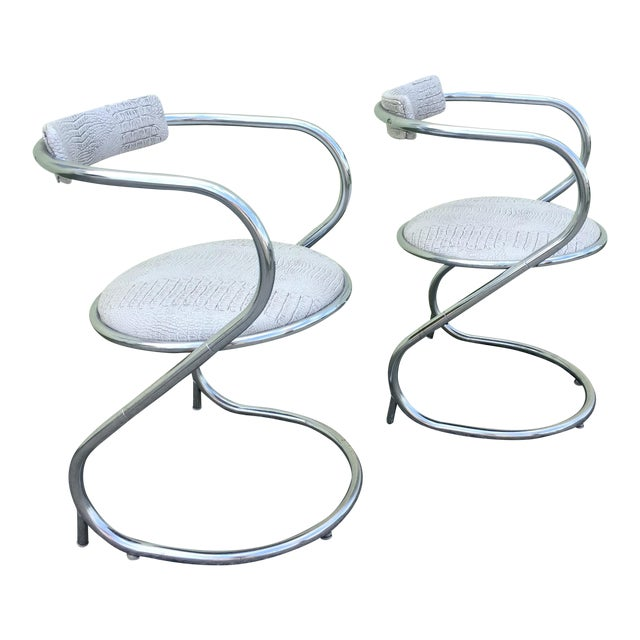Pair of Thonet Style Faux Snake Skin & Chrome Cantilever Chairs For Sale