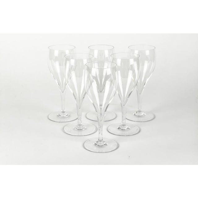 Set of six vintage Baccarat clear crystal wineglasses. Each Baccarat Crystal Wine measure 7 inches High X 3 inches Width....