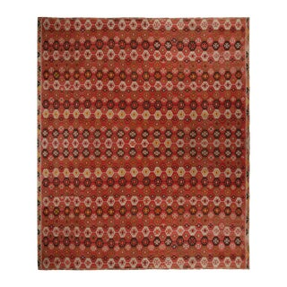Vintage Geometric Red and Brown Wool Kilim Rug With Multicolor Accents For Sale