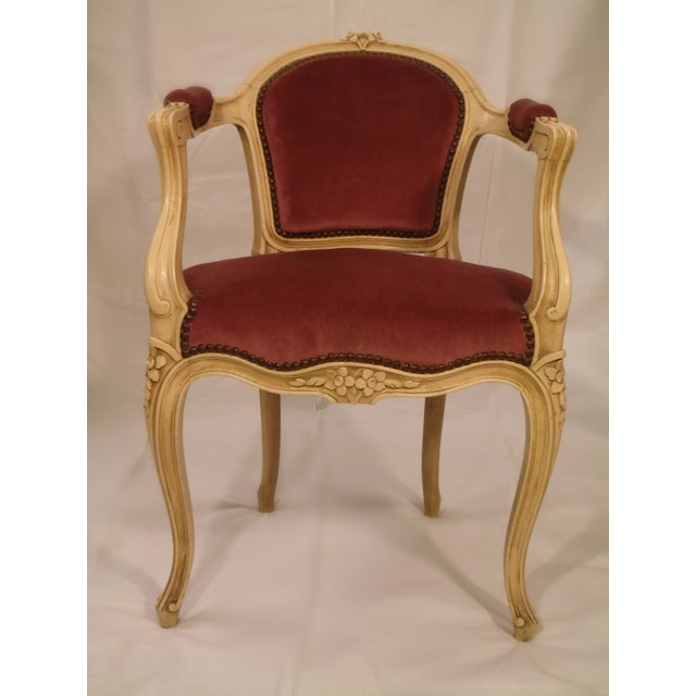Antique Ivory Louis XV Style Low Back Fauteuil - Image 2 of 7