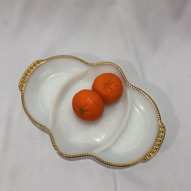 Glass Art Deco Fireking Gold Trimmed Milk Glass Dish For Sale - Image 7 of 8