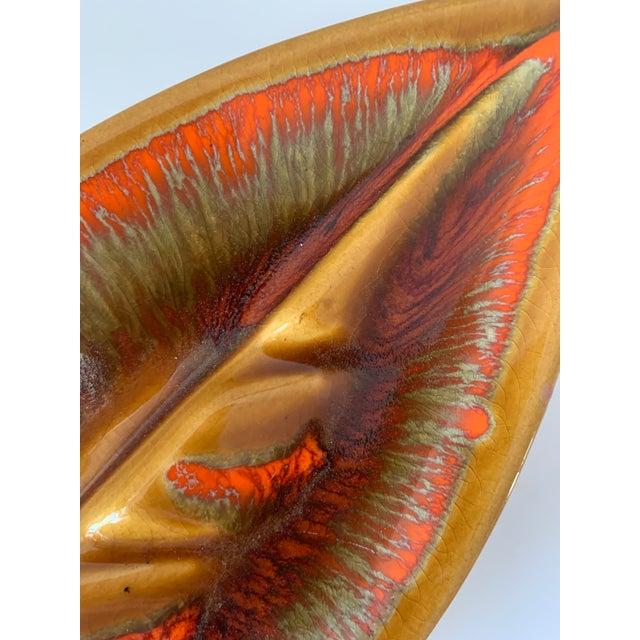 1960s Mid Century Leaf Shape Lava Glaze Ashtray For Sale - Image 5 of 10