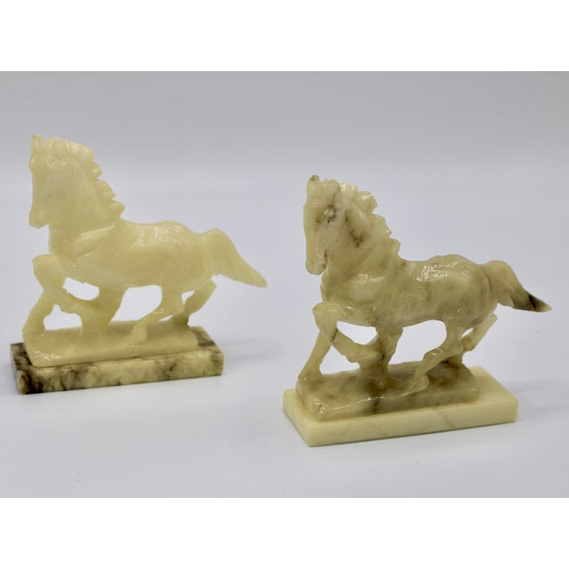 Mid-20th Century Italian Alabaster Mantle Horse Bookends - a Pair For Sale In Tulsa - Image 6 of 13