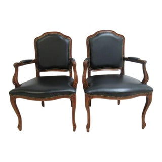 Country French Leather Lounge Arm Chairs - A Pair For Sale