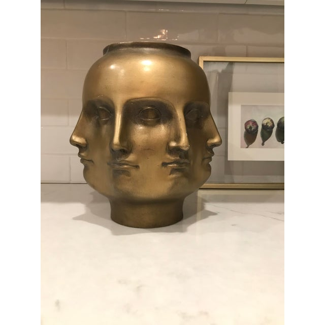 Gold Modern Pietro Fornasetti Style Dora Marr Gold Perpetual Face Vase For Sale - Image 7 of 8