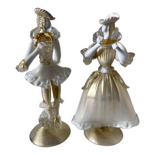 Vintage Murano Glass Figurine Couple in White and Gold For Sale