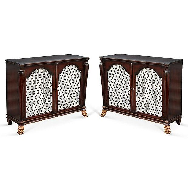 Mid Century Bachelors Chests With Brass Latticework - Pair - Image 2 of 6